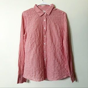 J. Crew The Perfect Shirt Red Linen Stripe